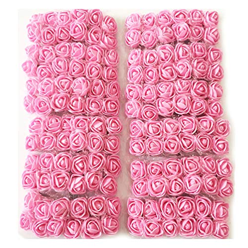 Artfen Mini Fake Rose Flower Heads 144pcs Mini Artificial Roses DIY Wedding Flowers Accessories Make Bridal Hair Clips Headbands Dress (Bottom add Gauze) Pink
