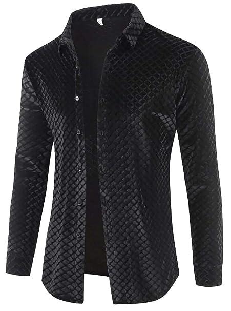 WSPLYSPJY Men Slim Fit Shirt Long Sleeve Button Down Dress Shirt