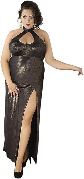 Andalea Langes Goldenes Dessous Wetlook Kleid Ruckenfrei Mit Gehschlitz Xxl Chemise Maxikleid Dehnbar Amazon De Bekleidung