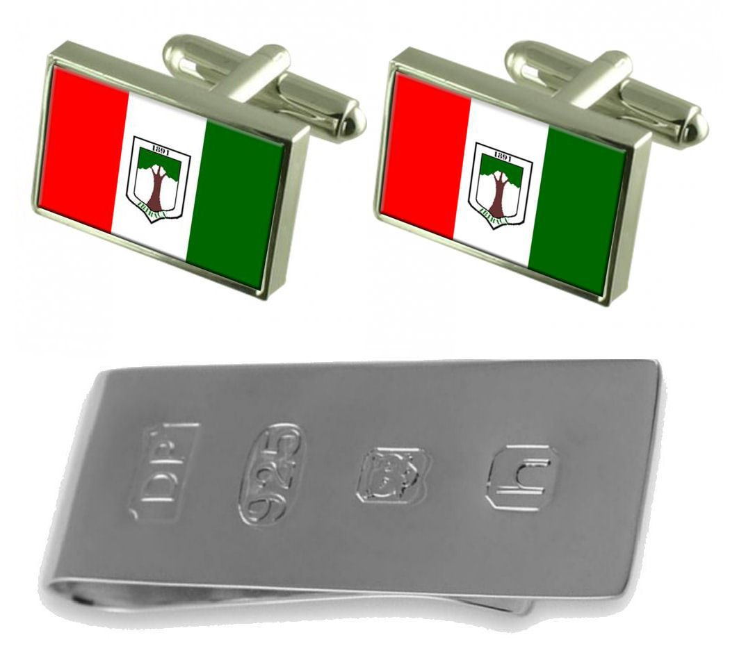 Ibiracu City Espirito Santo State Flag Cufflinks & James Bond Money Clip
