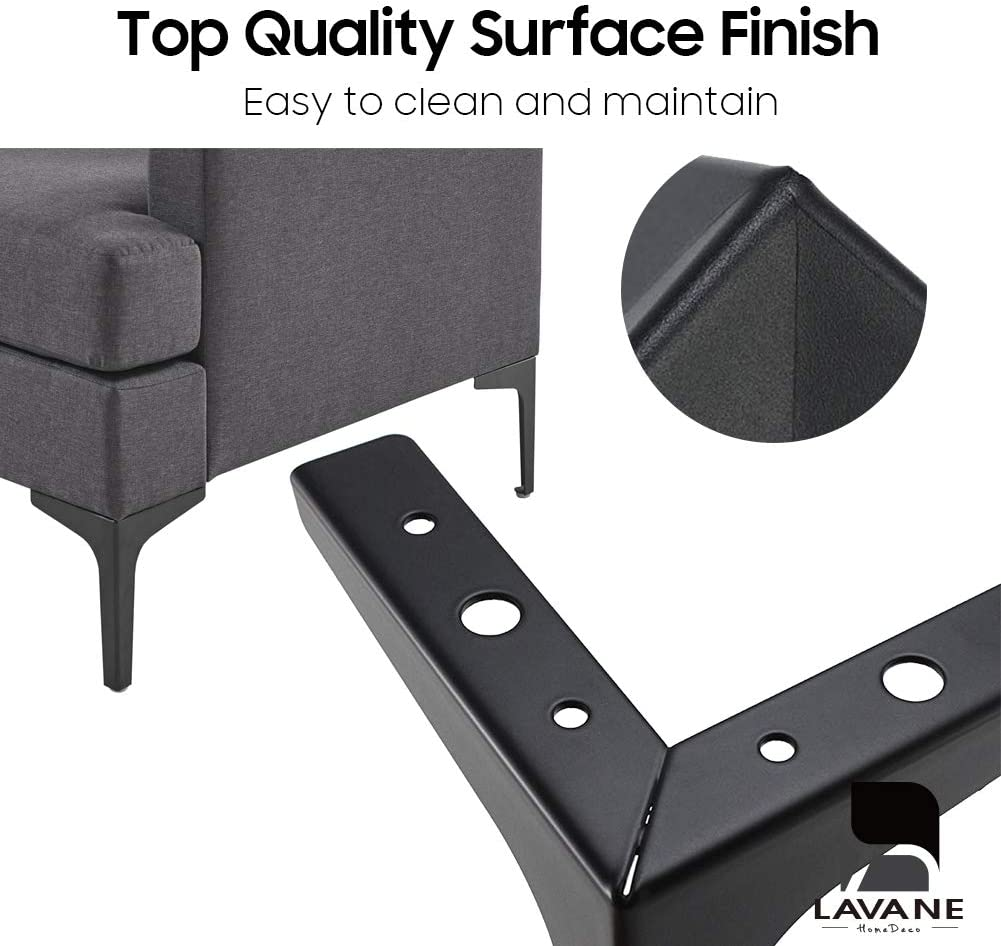 6 15cm Furniture Legs La Vane Set of 4 Modern Metal Diamond Triangle Furniture Feet DIY Replacement Chrom for Cabinet Cupboard Sofa Couch Chair Ottoman
