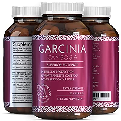 Garcinia Cambogia Pure Extract 95% To Burn Belly Fat In Men And Women - Weight Loss Pills With Natural Ingredients - Appetite Suppressant + Boost Energy - Garcinia HCA Supplement By Natural Vore