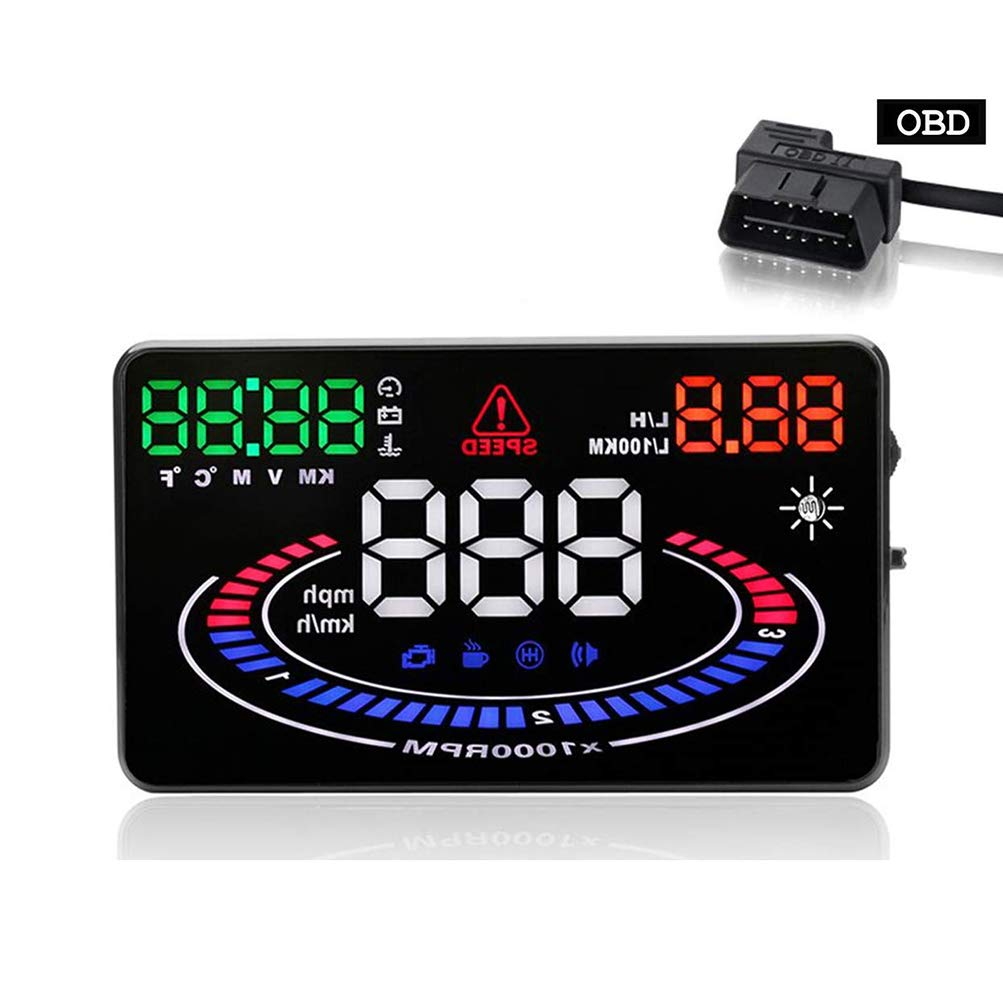 UFFD 5.5-inch OBD Car Windshield HUD Head-up Display with Time/Altitude Speed/Fatigue Warning/RPM MPH Fuel Consumption, Plug and Play by UFFD