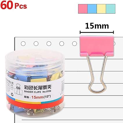 Z/·Bling Clip Doppio,Fermacarte Clip Colori Ferma Carta in Metallo Binder Clip per Chiudere i Sacchetti di Plastica Ufficio Organizzare la Protezione dei Documenti 120 Pezzi,15mm