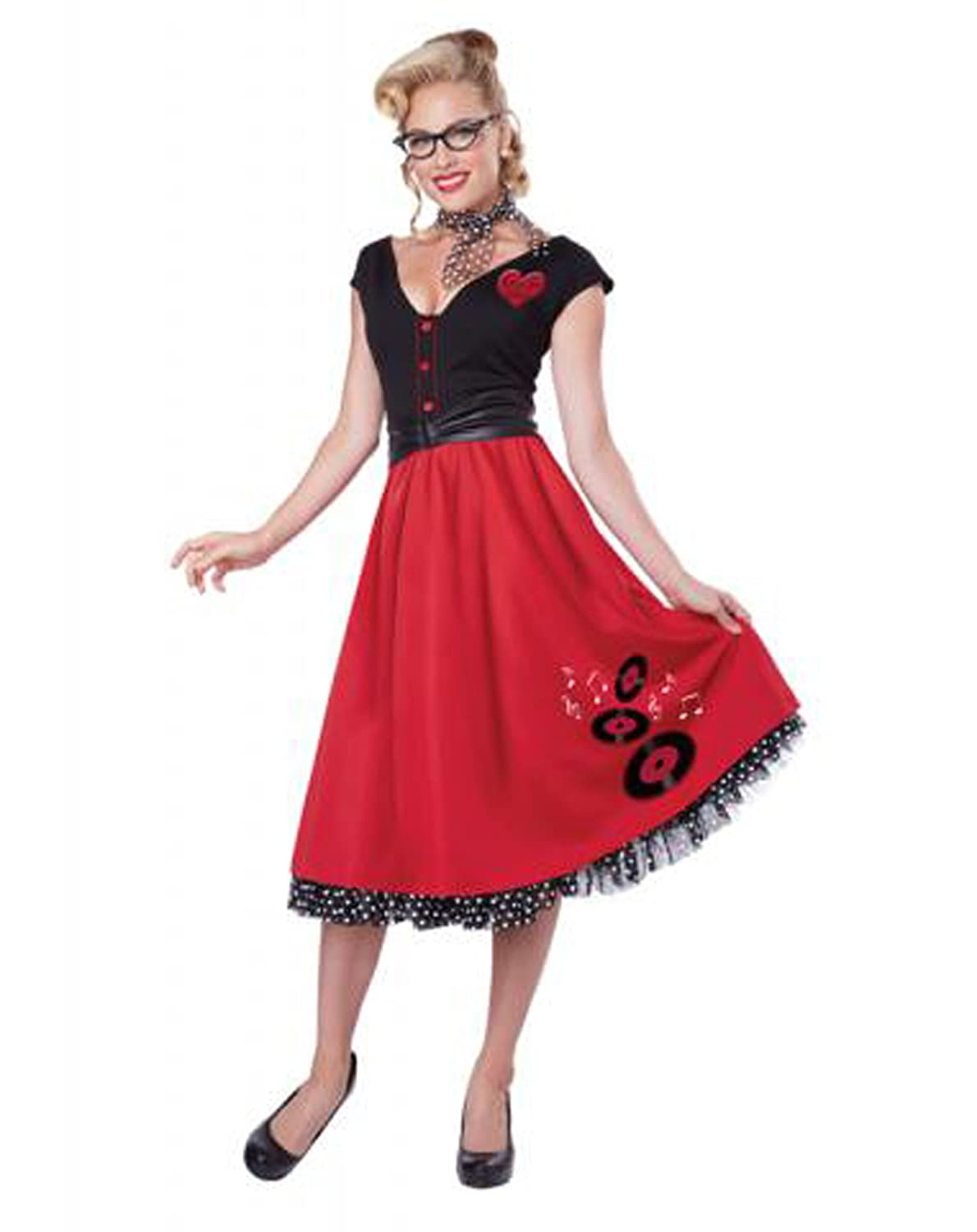 1950s Costumes- Poodle Skirts, Grease, Monroe, Pin Up, I Love Lucy  Rock N Roll Sweetheart 50s Pin Up Costume  AT vintagedancer.com