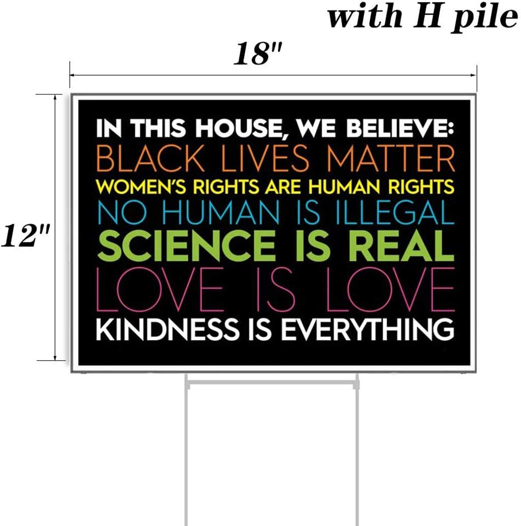 Human Rights 1PC Black Lives Matter 11.8x17.7 Yard Sign with Stake Peacur In This House We Believe Equality