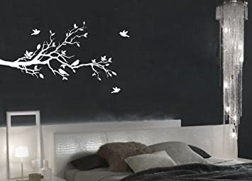 f3ddf7cda75 Tree Branches Wall Decal Love Birds Vinyl Sticker Nursery Leaves 56 quot   Wide X 28 quot