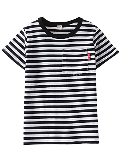 648a5d36d5 ASHERANGEL Unisex Kids Classic Striped T-Shirt Girls Boys Crewneck Jersey  Tee
