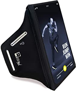 RevereSport Waterproof Running Armband for Phone with Case On (Otterbox, Lifeproof). Sports Phone Holder Compatible iPhone 12/11/X/XS/8/7 Samsung S21/S20/S10/S9 & More (Medium)