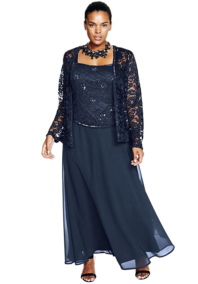Roamans Women's Plus Size Beaded Lace Jacket Dress