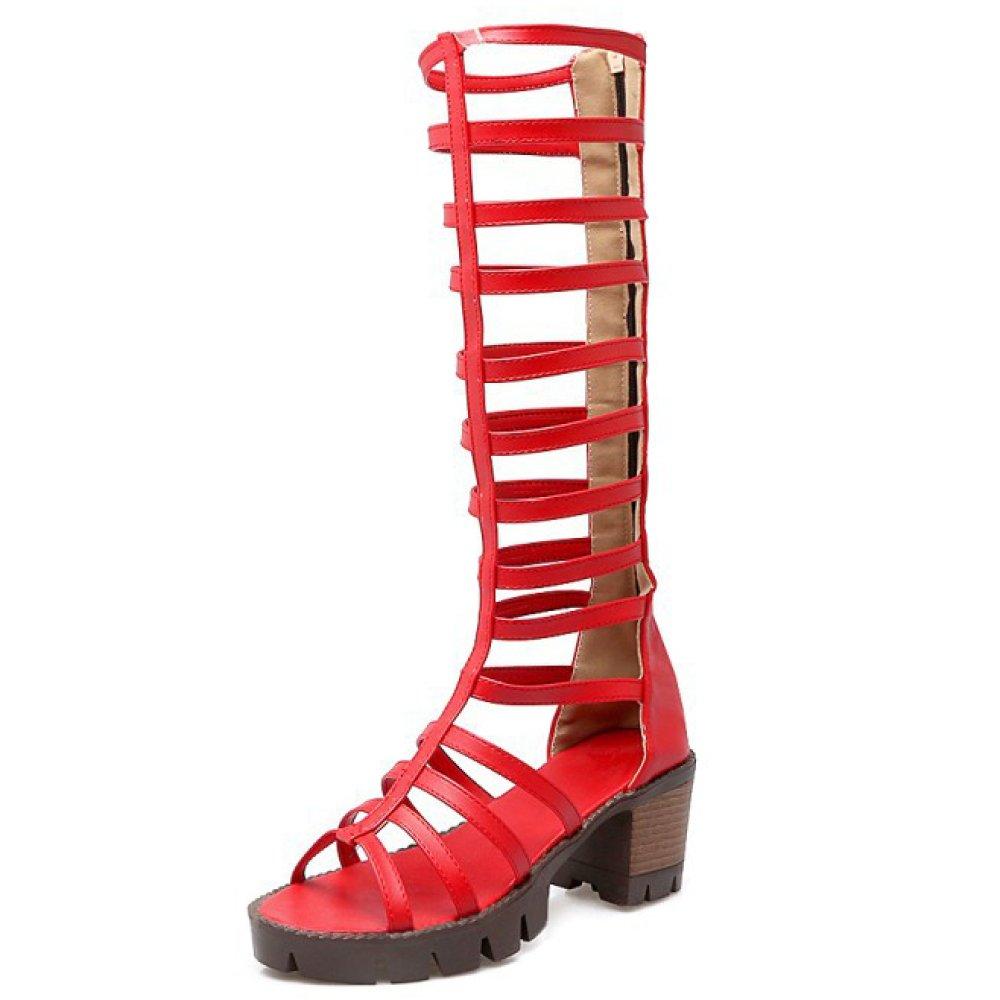 Damen Damen Roman Schuhe Blockabsatz Ferse Reißverschluss Toe Stiefel Open Toe Reißverschluss Gladiator Schuhe Pumps Sandalen 617e37