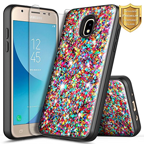 Galaxy J7 Star Case, J7 Refine/J7 Crown/J7 TOP/J7 V 2nd Gen/J7 Aura w/[Premium Soft Screen Protector], NageBee Glitter Shiny Bling Sparkle Shockproof Hybrid Cute Case for Samsung J7 2018 -Rainbow