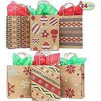 24 Christmas Kraft Gift Bags with Assorted Christmas...