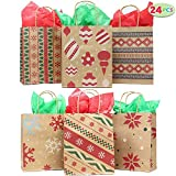Health & Personal Care : 24 Christmas Kraft Gift Bags with Assorted Christmas Prints for Kraft Holiday Paper Gift Bags, Christmas Goody Bags, Xmas Gift Bags, Classrooms and Party Favors by Joiedomi