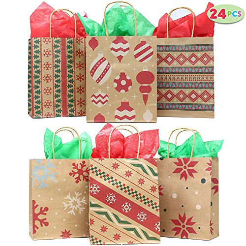 24 Christmas Kraft Gift Bags with Assorted Christmas Prints for Kraft Holiday Paper Gift Bags, Christmas Goody Bags, Xmas Gift Bags, Classrooms and Party Favors by Joiedomi for $<!--$14.99-->