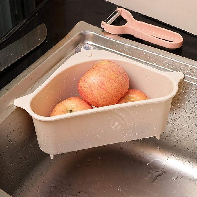Mirrwin 2 Piece Set Corner Sink Strainer Drain Basket Storage Rack Drain Rack Organizer Support Corner Hanging Drain Shelf Drain Rack Triangular Sink Drain Shelf Storage Rack for Kitchen Bathroom