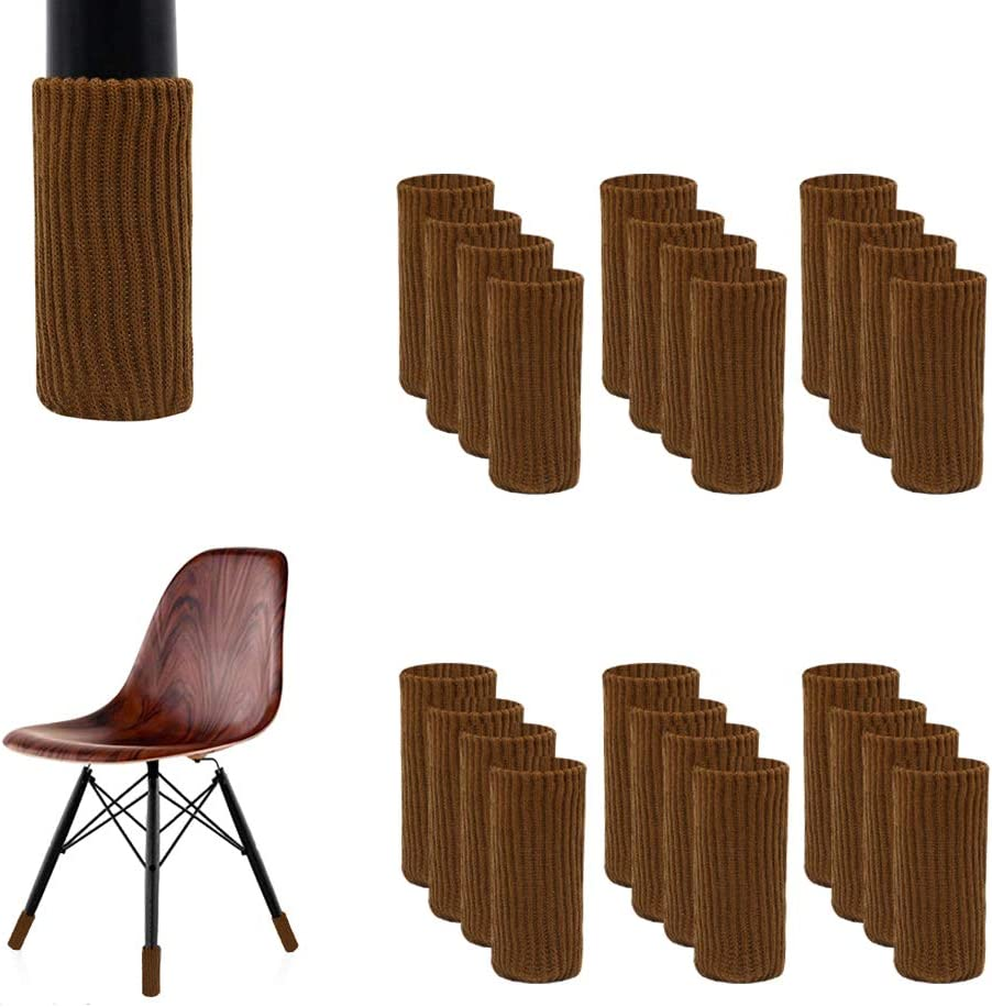 24PCS Chair Socks, Knitting Chair Leg Floor Protectors No Scratch Noise Slipping Elastic Furniture Feet Cover Washable Reusable for Tile Wood Ceramic Floor (24 Pcs, Coffee)