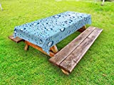 Ambesonne Modern Outdoor Tablecloth, Water Marks Ice Cold Soda Drink Commercial Like Glass Drops Photo Image, Decorative Washable Picnic Table Cloth, 58 X 84 Inches, Ice Blue and White