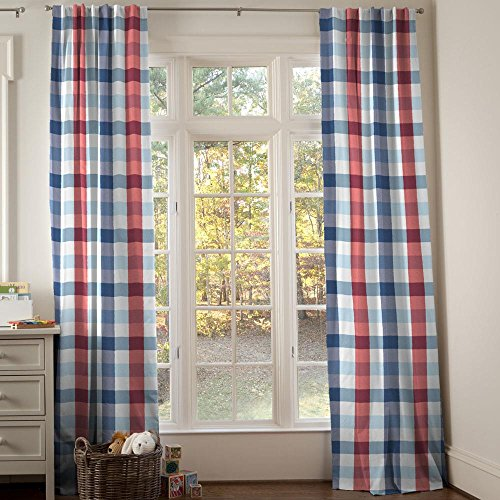 Carousel Designs Navy and Red Buffalo Check Drape Panel 96-Inch Length Standard Lining 42-Inch Width by Carousel Designs