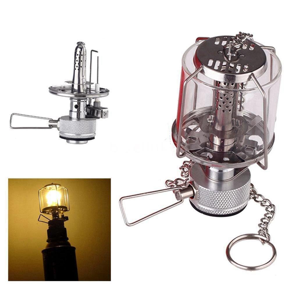 SODIAL Mini linterna de camping Luz de gas Lampara de vidrio de tienda portatil Butano 80LUX Luz BL
