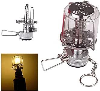 SODIAL Mini linterna de camping Luz de gas Lampara de vidrio de tienda portatil Butano 80LUX Luz BL: Amazon.es: Deportes y aire libre