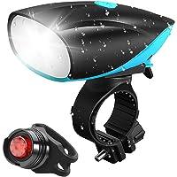 NIERBO Luz de Bicicleta, Luces para Bicicleta con Bocina Lámpara de Bicicleta de 750 lúmenes Recargable Mediante USB - Luces Bicicleta Impermeable con control remoto cable para Ciclismo, cámping, senderismo