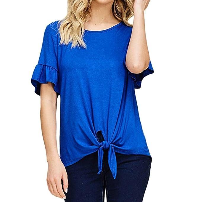 Sannysis Mujer Casual O Cuello Manga Corta Suelto Parte Superior tee Camiseta Blusas Camisetas de Gasa