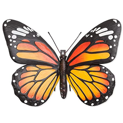 Bits And Pieces Metal Monarch Butterfly Wall Art Decorative Hanging Wall Sculpture For Your Home