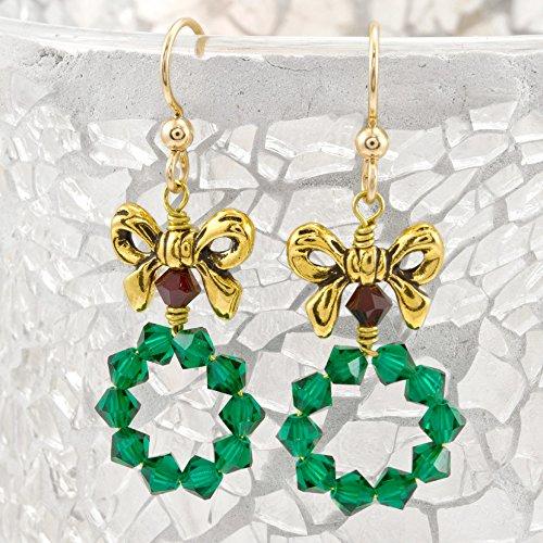 Ribbons & Wreath Swarovski Crystal Holiday Earring Kit Jewelry Making Kit (Crystal Swarovski Earring Kit)