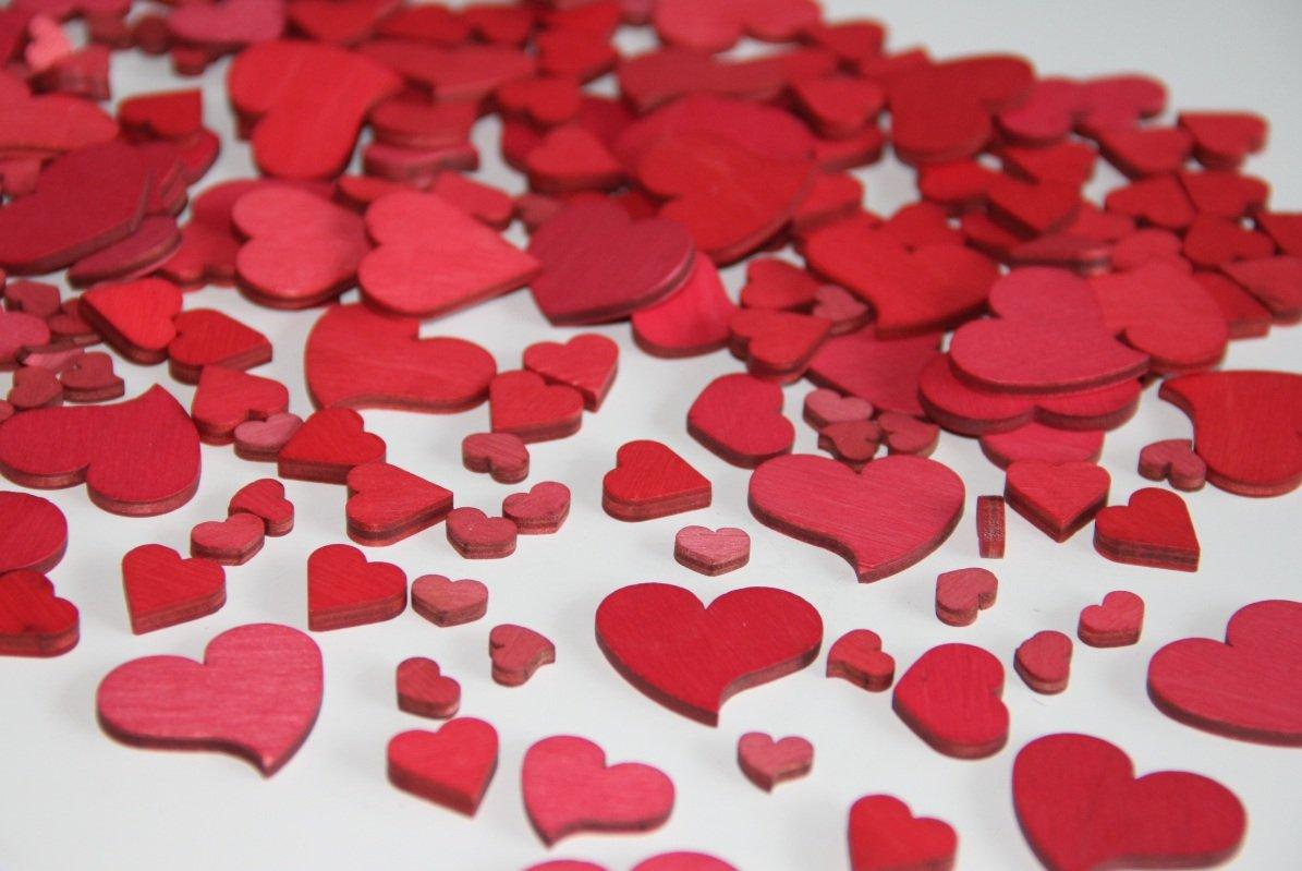 160 pezzi in legno rosso matrimonio tavolo drachensilber strame pezzi in legno a forma di cuore decorativo cuore strame cuore il centrotavola decorativo amore san Valentino festa della mamma strame fai da te decorazione tavolo in legno a forma di cuore
