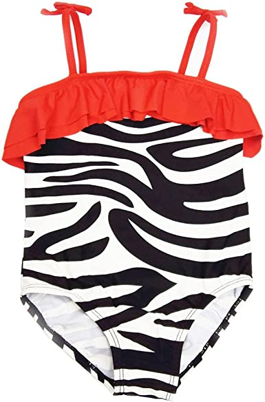 Baby Toddler Girls Summer Swimwear Bathing Suit for 2-7 Years Old Kids One-Piece Striped Swimsuit Beach Wear