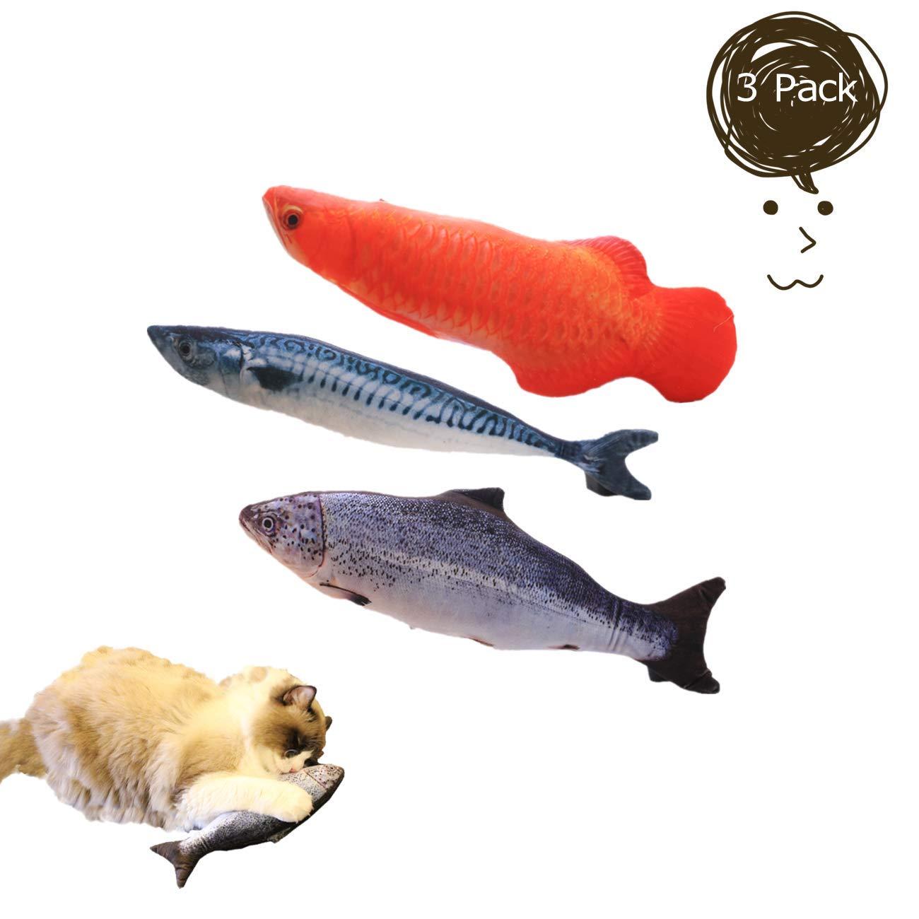 PePePet Artificial pez de Juguete con Catnip para Gatos coj/ín de Gato de 30 cm con cremallera-20cm-3P-A Juguete de Limpieza de Dientes de Gato de 20 cm