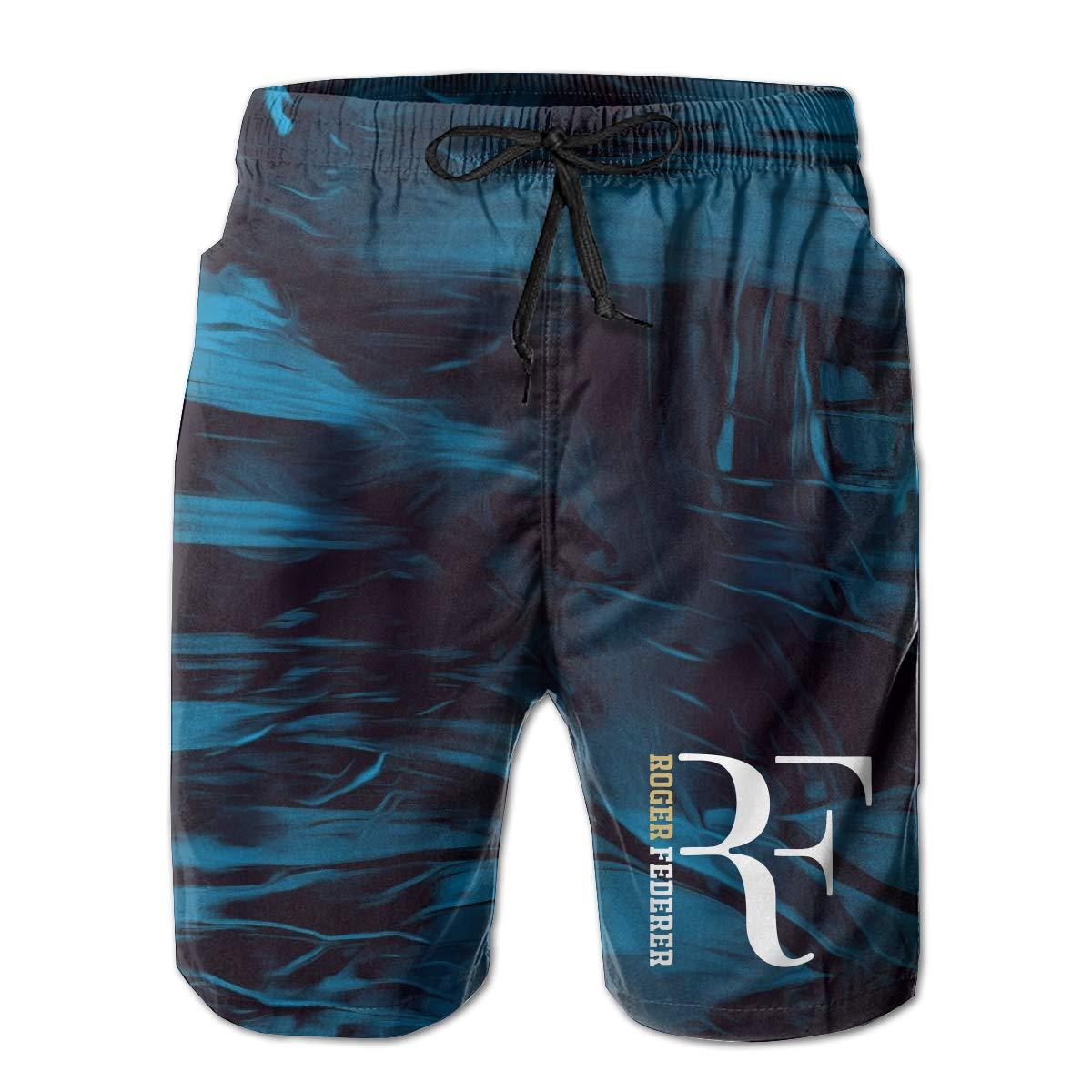 SheSylvi Mens Swim Trunks Rf-Roger Federer Swimming Beach Surfing Board Shorts Swimwear with Pockets