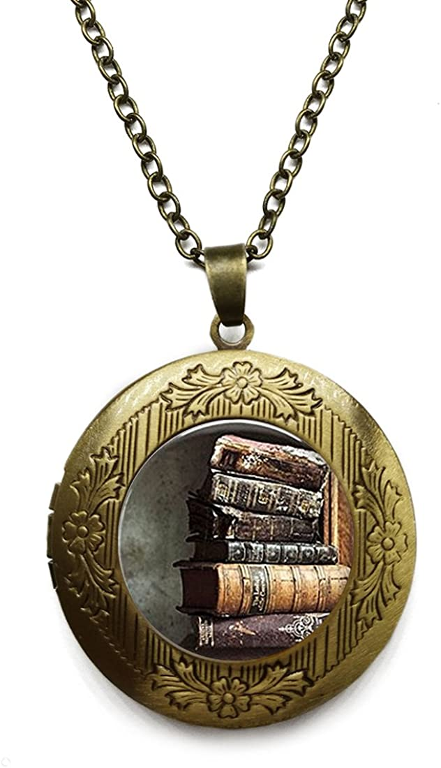 Vintage Bronze Tone Locket Picture Pendant Necklace Neptune Included Free Brass Chain Gifts Personalized