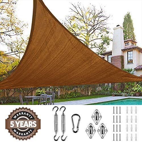 Quictent 185G HDPE Triangle 20x20x20FT Sun Shade Sail Canopy 98 UV Block Top Outdoor Cover Patio Garden with Hardware Kit Brown