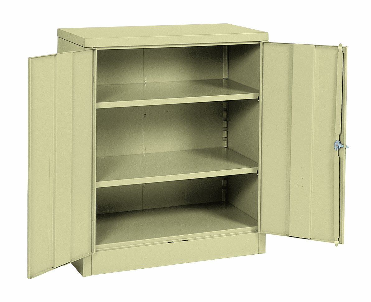 Sandusky Lee RTA7001-07 Putty Steel SnapIt Counter Height Cabinet, 2 Adjustable Shelves, 42'' Height x 36'' Width x 18'' Depth