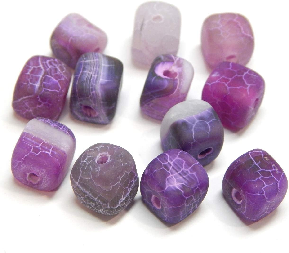 Piedra de ágata mate esmerilada, perlas de piedras preciosas, 8 mm, 12 unidades, cubos de piedra natural, perlas de ágata esmerilada, piedras semipreciosas, joyas, color a elegir, piedra, morado