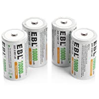 EBL D Size Battery D Cell 10000mAh Huge Capacity Ni-MH Rechargeable