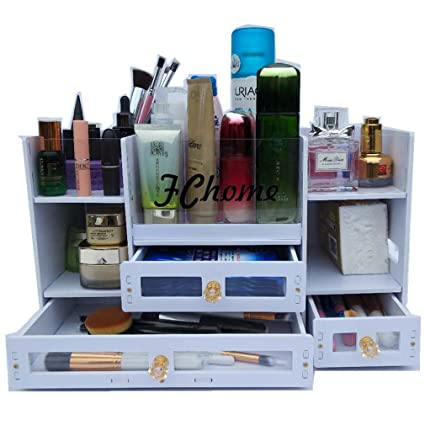 FChome Cosmetic Storage Boxes With Drawers,Acrylic And PVC Jewelry Cosmetic  Display Cases Makeup Organizer