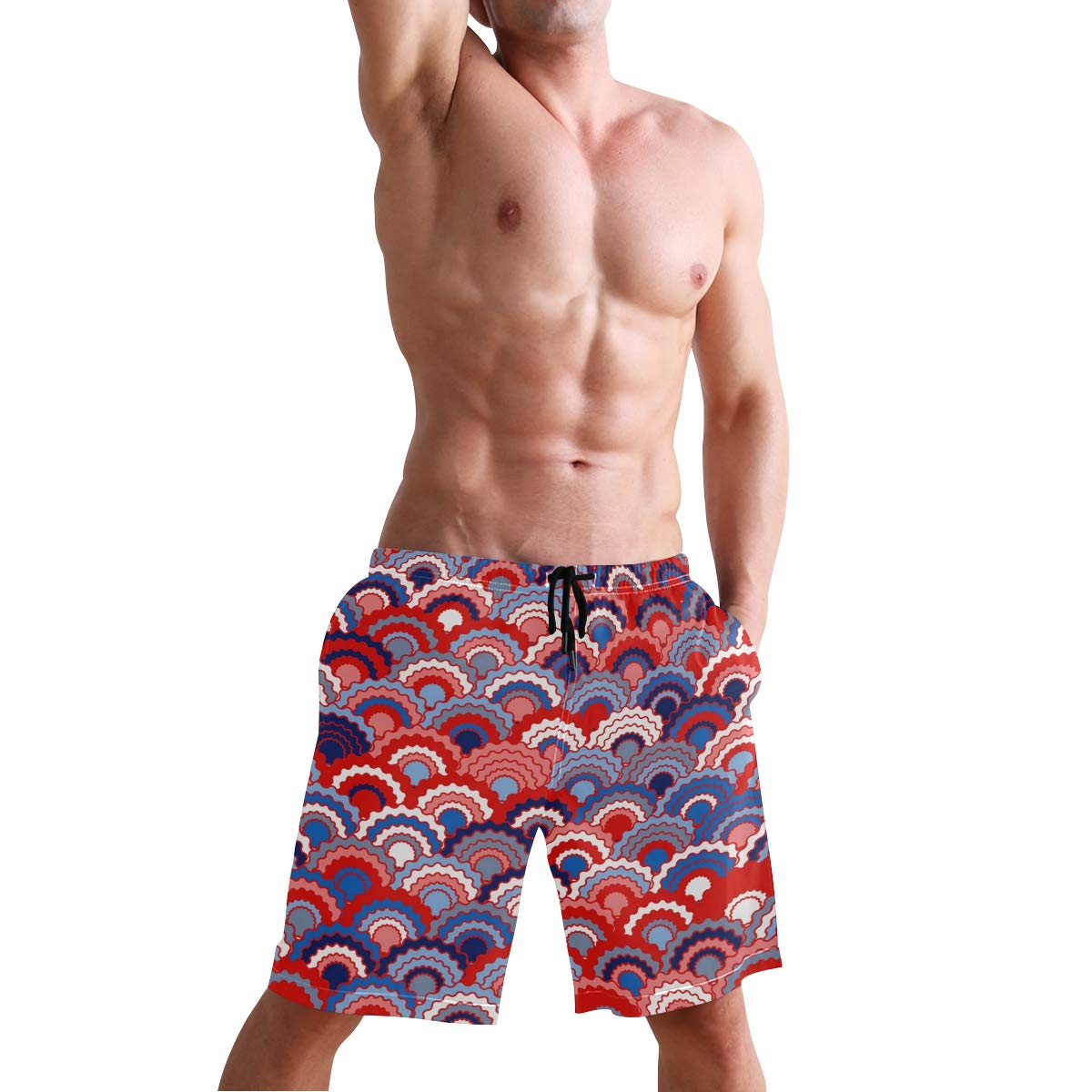 CENHOME Mens Swim Trunks Red Blue Navy White Fish Scale Pattern Beach Board Shorts