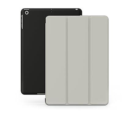 KHOMO Funda iPad 2, 3, 4 - Carcasa Gris y Negra Protectora Ultra Delgada y Ligéra con Smart Cover y Soporte para Apple iPad 4 Retina, iPad 3, iPad 2 - ...