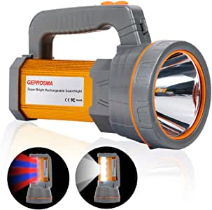 Super Bright USB Rechargeable LED Torch Handheld Spotlight Flashlight High Powered Lumens Outdoor Tactical Searchlight Large Lithium Battery 10000mah Powered, Side Floodlight Lamp Camping Lantern Work Light Waterproof