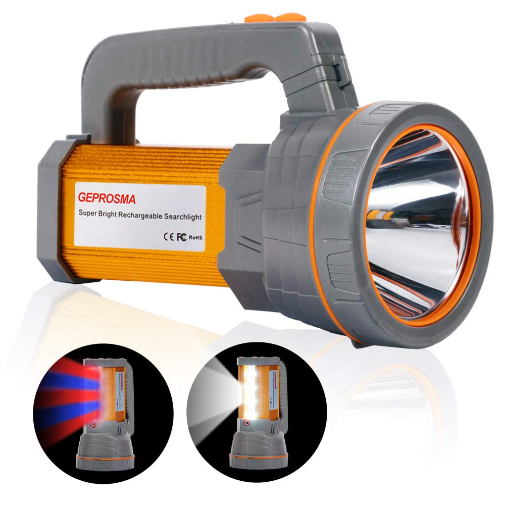 Super Bright Handheld Searchlight USB Rechargeable Large 4 Batteries 10000mah Powerful Cree LED Spotlight Flashlight High 6000 Lumens Powered Heavy Duty Waterproof Marine Boat Tactical Torch