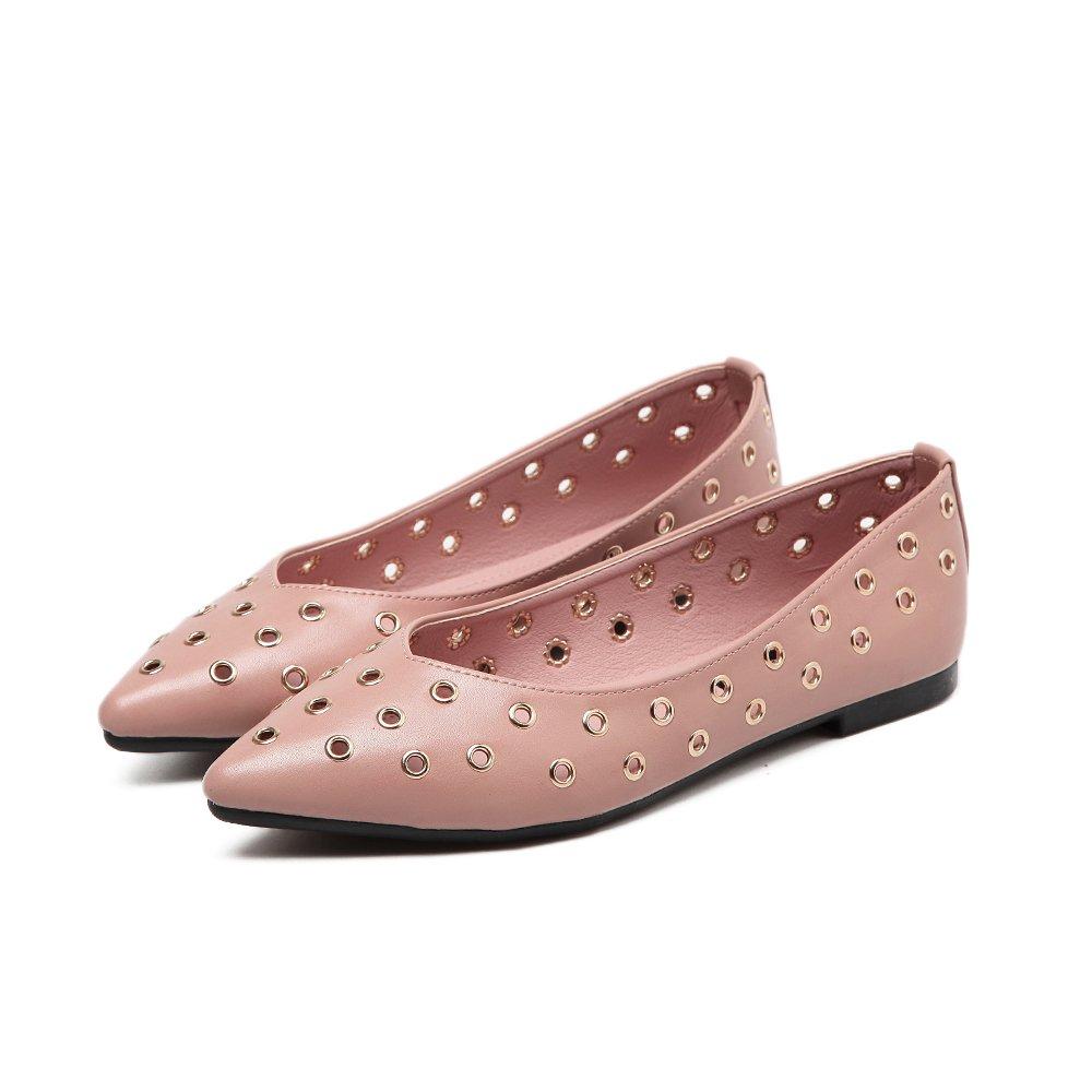 Xue Qiqi Court Schuhe Lochschuhe weibliche spitz Flache Schuhe Hohle Hohle Hohle Damenschuhe Flacher Mund mit niedrigen Schuhen 38 Rosa 4fc2e2