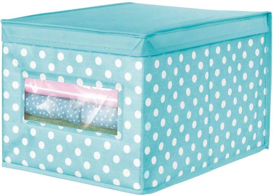 Rosa Claro y Blanco Cajas organizadoras apilables para el Cuarto de los ni/ños o para armarios Cajas de almacenaje con Lunares y Ventana mDesign Juego de 6 cestas de Tela Grandes con Tapa