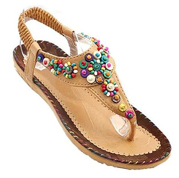 Fortuning's JDS Le donne estate perline bohemien T-Strap infradito sandali  piatti: Amazon.it: Scarpe e borse