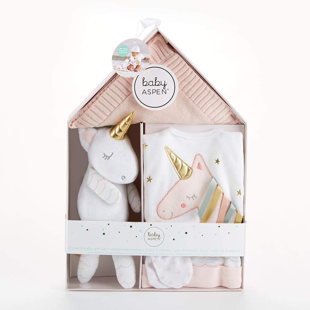 Baby Aspen Simply Enchanted Unicorn 5-Piece Welcome Home Gift Set, Light & Dark Pink/White/Aqua/Gold