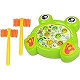 Jeu de la taupe,Foxom dessin animé mignon enfants électronique Whac-a-Mole jeu percussion jouet avec effet de musique et marteaux(grenouille) (Vert)