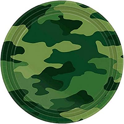 "Camouflage Round Plates, 7"", Party Favor: Kitchen & Dining"
