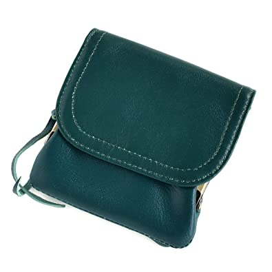 12df59034840 Amazon | 折り財布 レディース 羊革 がま口 二つ折り コンパクトウォレット 小銭入れ mlb 【HT-2】 (グリーン) | ノーブランド品  | 財布
